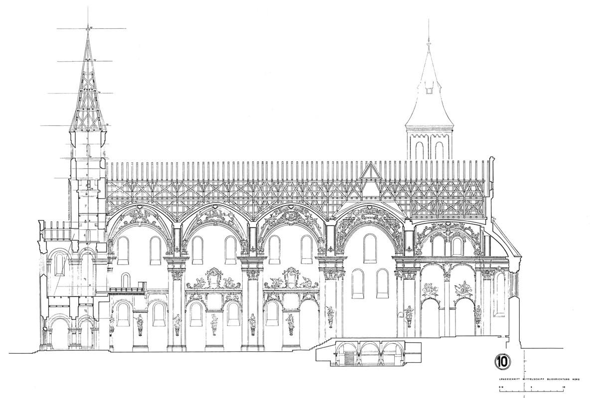 Sanierung Basilika Ellwangen Längsschnitt